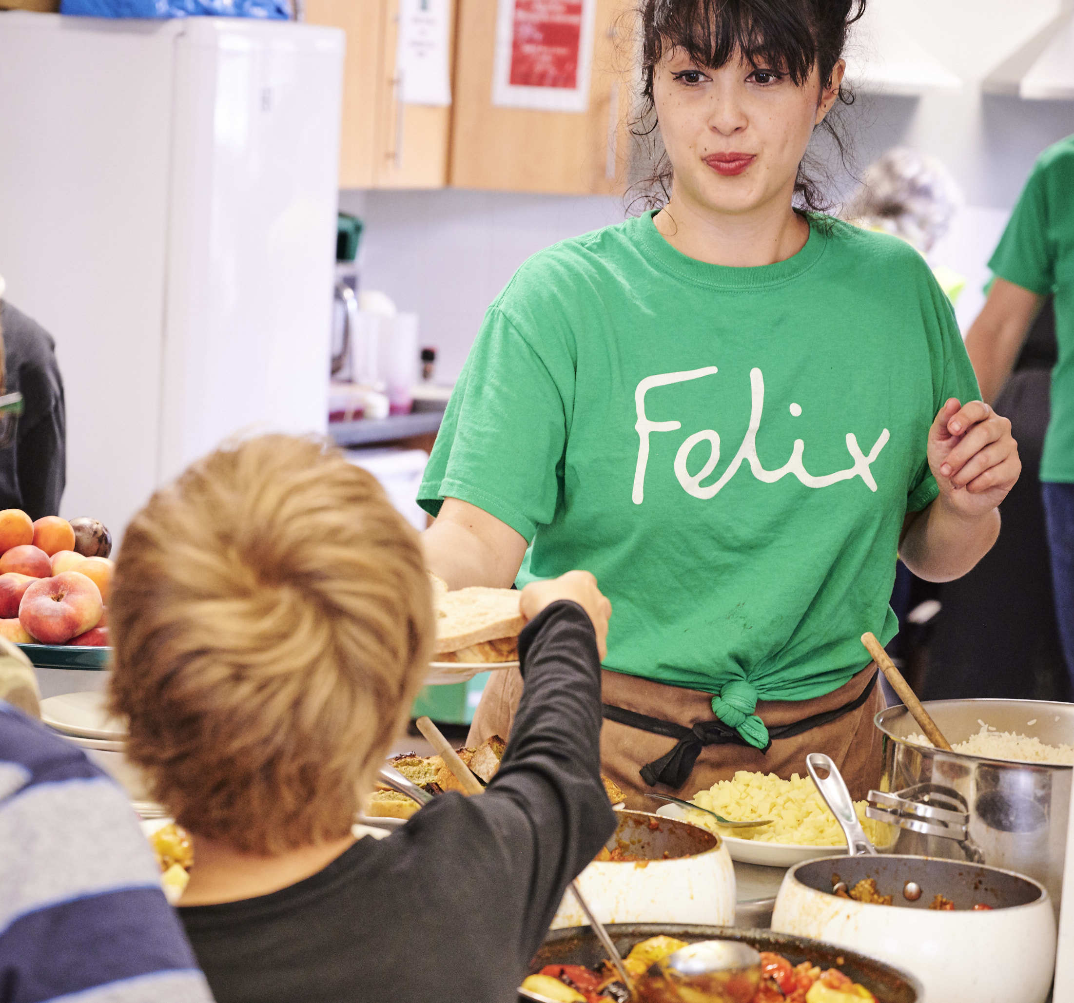 Melissa Hemlsey cooked lunch using surplus food from The Felix Project for St Peters Project in Islington Gary Hamill