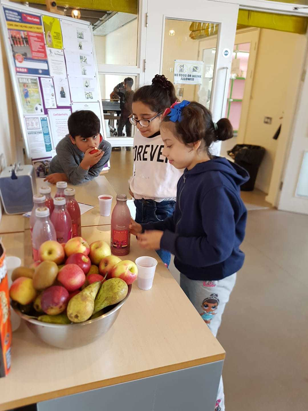 The Avenues introduced a breakfast bar for children during the school holidays with bread and fruit from The Felix Project