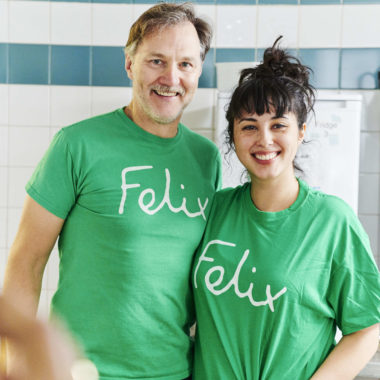 Chef Melissa Hemsley and actor David Morrissey are volunteers at The Felix Project and cooked a lunch for residents and staff at a S Ingle Homeless Project hostel in Camden
