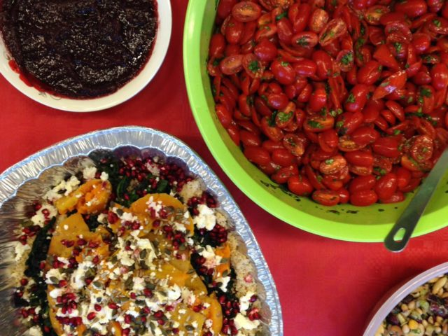 Festive salads and cranberry with food from The Felix Project at Foodcyle Islington