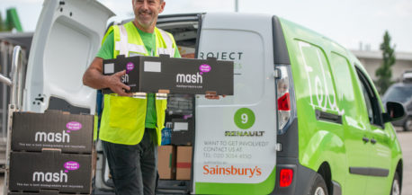 Felix Volunteer loading food from Mash onto a Renault Pro electric van