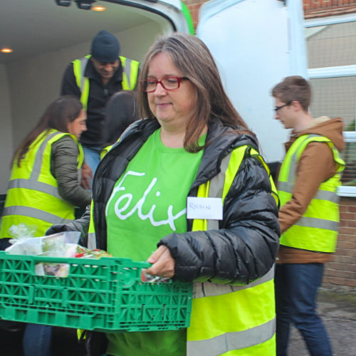 Roisin Carrying A Crate Of Rescued Food For The Felix Project